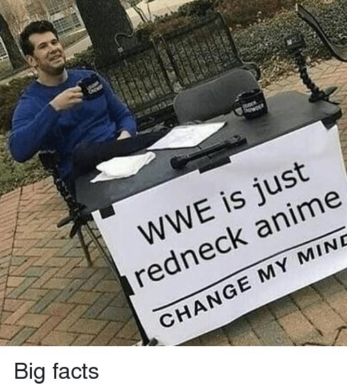 Anime, Facts, and Redneck: WWE is just  redneck anime  CHANGE MY MINE Big facts