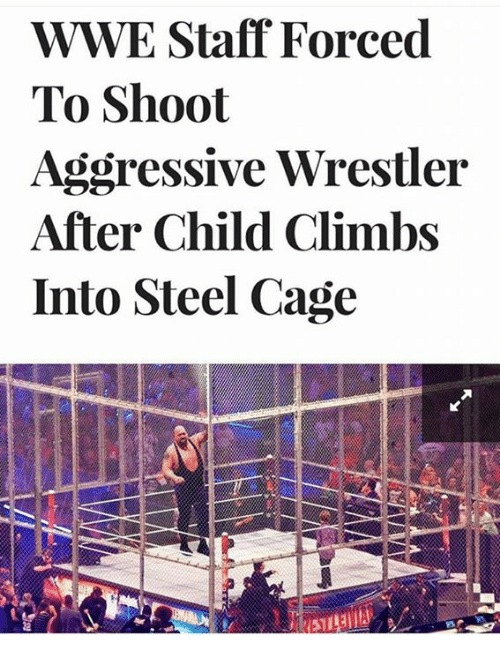 Caged: WWE Staff Forced  To Shoot  Aggressive Wrestler  After Child Climbs  Into Steel Cage