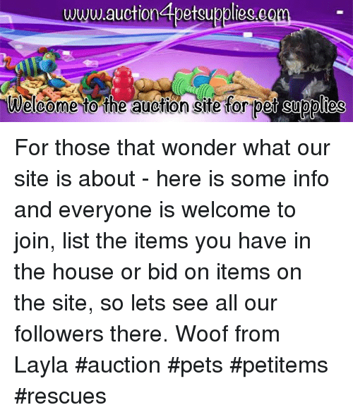 Memes, 🤖, and Tor: www.auctionabetsuppliego  Welcome to the auetion site tor pet Supplies For those that wonder what our site is about - here is some info and everyone is welcome to join, list the items you have in the house or bid on items on the site, so lets see all our followers there. Woof from Layla     #auction #pets #petitems #rescues