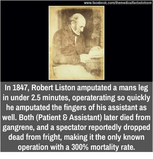 Memes, 300, and Fingering: www.facebook.com/themedicalfactsdotcom  In 1847, Robert Liston amputated a mans leg  in under 2.5 minutes, operaterating so quickly  he amputated the fingers of his assistant as  We  Both (Patient 8 Assistant) later died from  gangrene, and a spectator reportedly dropped  dead from fright, making it the only known  operation with a 300% mortality rate.