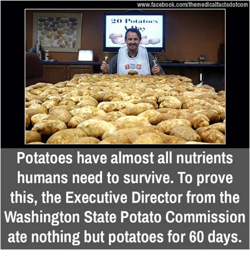 Memes, Potato, and 🤖: www.facebook.com/themedicalfactsdotcom  O Potatoes  Potatoes have almost all nutrients  humans need to survive. To prove  this, the Executive Director from the  Washington State Potato Commission  ate nothing but potatoes for 60 days.