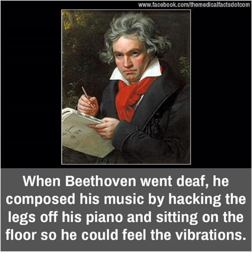 Vibraters: www.facebook.com/themedicalfactsdotcom  When Beethoven went deaf, he  composed his music by hacking the  legs off his piano and sitting on the  floor so he could feel the vibrations.