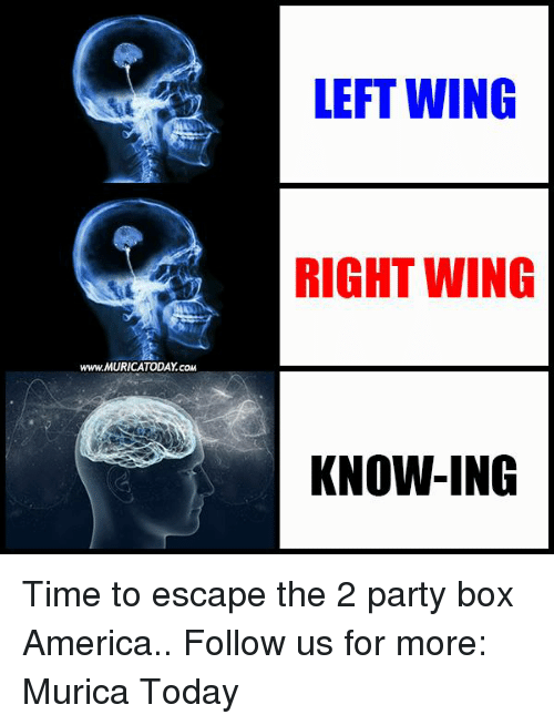 America, Boxing, and Memes: www.MURICATODAY com  LEFT WING  RIGHT WING  KNOW-ING Time to escape the 2 party box America..  Follow us for more: Murica Today