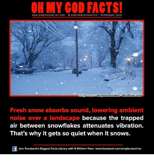 Vibraters: www.omgfacts online.com I fb.com  m g facts on  bringontherandomo WordPress.com  mage Source  Fresh snow absorbs sound, lowering ambient  noise over a landscape because the trapped  air between snowflakes attenuates vibration.  That's why it gets so quiet when it snows.  Join Facebook's Biggest Facts Library with 6 Million+ Fans- www.facebook.com/omgfactsonline