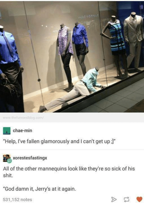 "Help Ive Fallen: www the funniestblog com/  4 chae-min  ""Help, I've fallen glamorously and l can't get up  J""  xorestesfastingx  All of the other mannequins look like they're so sick of his  shit.  ""God damn it, Jerry's at it again.  531,152 notes"