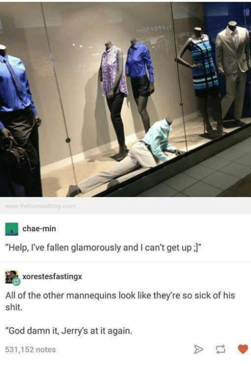 "Help Ive Fallen: www the unniestblog.com/  chae-min  ""Help, I've fallen glamorously and l can't get up J  xorestesfastingx  All of the other mannequins look like they're so sick of his  shit.  ""God damn it, Jerry's at it again.  531,152 notes"