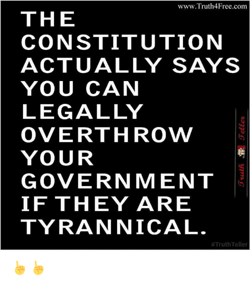 Memes, Constitution, and Tyrannical: www.Truth4Free.com  THE  CONSTITUTION  ACTUALLY SAYS  YOU CAN  LEGALLY  OVERTHROW/  YOUR  GOVERNMENT  IF THEY ARE  TYRANNICAL  Truth Teller ☝☝