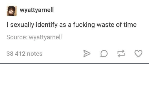 I Sexually Identify As A: wyattyarnell  I sexually identify as a fucking waste of time  Source: wyattyarnell  38 412 notes