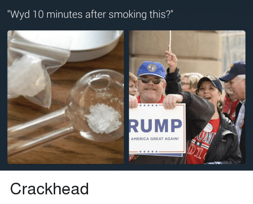 "Crackhead, Memes, and Wyd: ""Wyd 10 minutes after smoking this?""  RUMP  AMERICA GREAT AGAIN! Crackhead"