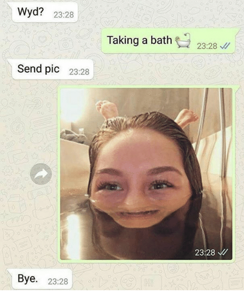 Memes, 🤖, and Bath: Wyd? 23:28  Send pic  23:28  Bye  23:28  Taking a bath  23:28  23:28