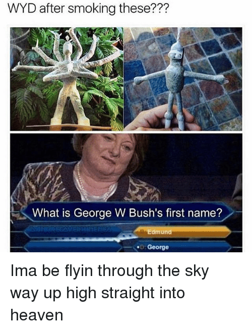 Heaven, Smoking, and Wyd: WYD after smoking these???  What is George W Bush's first name?  Edmund  George Ima be flyin through the sky way up high straight into heaven