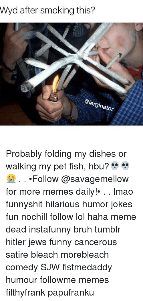 Memes, Wyd, and 🤖: Wyd after smoking this?  @lerginator Probably folding my dishes or walking my pet fish, hbu?💀💀😭 . . •Follow @savagemellow for more memes daily!• . . lmao funnyshit hilarious humor jokes fun nochill follow lol haha meme dead instafunny bruh tumblr hitler jews funny cancerous satire bleach morebleach comedy SJW fistmedaddy humour followme memes filthyfrank papufranku