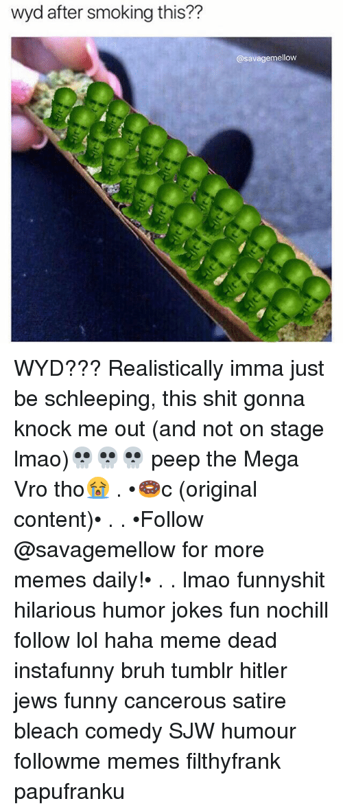 Bruh, Funny, and Lmao: wyd after smoking this??  @savagemellow WYD??? Realistically imma just be schleeping, this shit gonna knock me out (and not on stage lmao)💀💀💀 peep the Mega Vro tho😭 . •🍩c (original content)• . . •Follow @savagemellow for more memes daily!• . . lmao funnyshit hilarious humor jokes fun nochill follow lol haha meme dead instafunny bruh tumblr hitler jews funny cancerous satire bleach comedy SJW humour followme memes filthyfrank papufranku