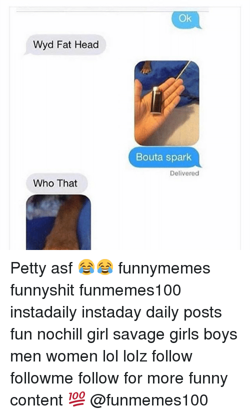 Memes, 🤖, and Fun: Wyd Fat Head  Who That  Ok  Bouta spark  Delivered Petty asf 😂😂 funnymemes funnyshit funmemes100 instadaily instaday daily posts fun nochill girl savage girls boys men women lol lolz follow followme follow for more funny content 💯 @funmemes100