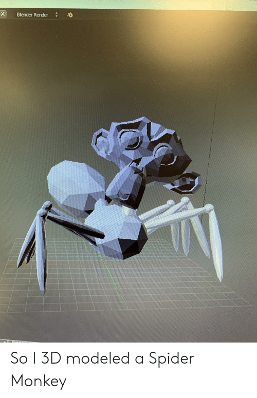 spider monkey: X  Blender Render So I 3D modeled a Spider Monkey