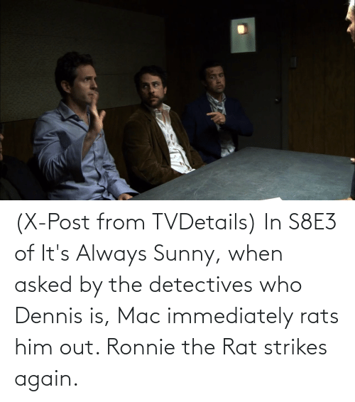 sunny: (X-Post from TVDetails) In S8E3 of It's Always Sunny, when asked by the detectives who Dennis is, Mac immediately rats him out. Ronnie the Rat strikes again.