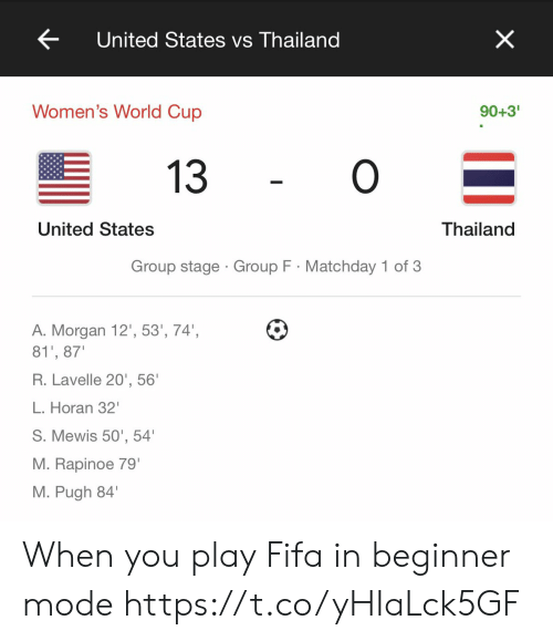 Thailand: X  United States vs Thailand  Women's World Cup  90+3'  O  13  United States  Thailand  Group stage Group F Matchday 1 of 3  A. Morgan 12', 53', 74',  81', 87  R.Lavelle 20', 56'  L. Horan 32'  S. Mewis 50', 54  M. Rapinoe 79'  M. Pugh 84 When you play Fifa in beginner mode https://t.co/yHIaLck5GF
