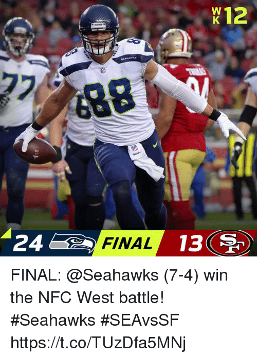 Memes, Seahawks, and 🤖: X12  24  FINAL  13 FINAL: @Seahawks (7-4) win the NFC West battle! #Seahawks   #SEAvsSF https://t.co/TUzDfa5MNj