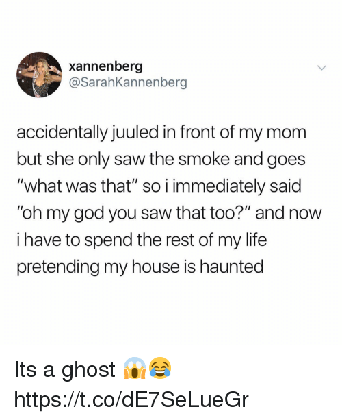 "God, Life, and My House: xannenberg  @SarahKannenberg  accidentally juuled in front of my mom  but she only saw the smoke and goes  ""what was that"" so i immediately said  ""oh my god you saw that too?"" and now  i have to spend the rest of my life  pretending my house is haunted Its a ghost 😱😂 https://t.co/dE7SeLueGr"