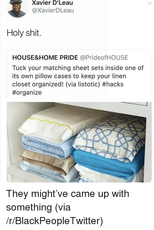 Blackpeopletwitter, Shit, and Home: Xavier D'Leau  @XavierDLeau  Holy shit.  HOUSE&HOME PRIDE @PrideofHOUSE  Tuck your matching sheet sets inside one of  its own pillow cases to keep your linen  closet organized! (via istotic) <p>They might've came up with something (via /r/BlackPeopleTwitter)</p>