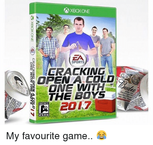 Memes, Sports, and Xbox One: XBOXONE  SPORTS  CRACKING  OPEN A COLD  -ONE WITH  THE BOYS  201.7  CRACKING OPEN A  ZS XBOX ONE  ONEVVITH THE9 My favourite game.. 😂
