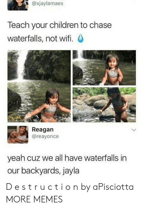 reagan: @xjaylamaex  Teach your children to chase  waterfalls, not wifi. O  Reagan  @reayonce  yeah cuz we all have waterfalls in  our backyards, jayla D e s t r u c t i o n by aPisciotta MORE MEMES