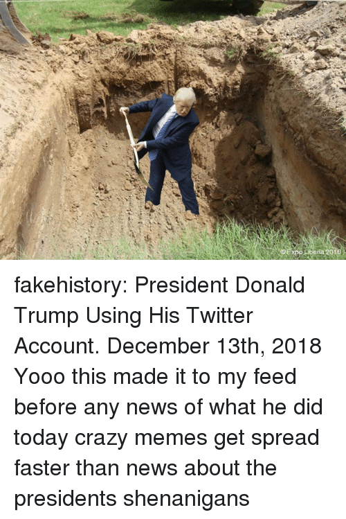 shenanigans: xpo Liberia 2010 fakehistory:  President Donald Trump Using His Twitter Account. December 13th, 2018  Yooo this made it to my feed before any news of what he did today crazy memes get spread faster than news about the presidents shenanigans
