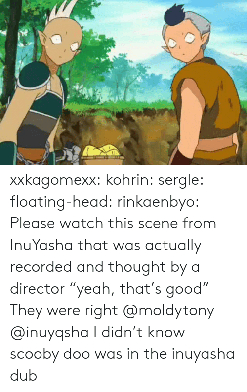 "floating: xxkagomexx:  kohrin: sergle:  floating-head:  rinkaenbyo:  Please watch this scene from InuYasha that was actually recorded and thought by a director ""yeah, that's good""  They were right  @moldytony   @inuyqsha    I didn't know scooby doo was in the inuyasha dub"