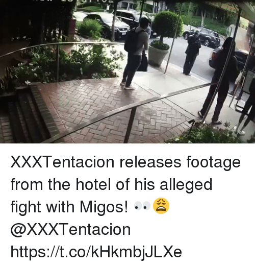 Memes, Migos, and Hotel: XXXTentacion releases footage from the hotel of his alleged fight with Migos! 👀😩 @XXXTentacion https://t.co/kHkmbjJLXe