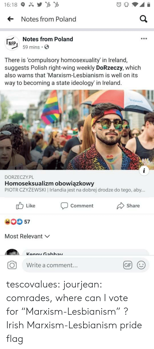 "like comment share: Y  16:18  a  Notes from Poland  Notes from Poland  NFP  59 mins  There is 'compulsory homosexuality' in Ireland,  suggests Polish right-wing weekly DoRzeczy, which  also warns that 'Marxism-Lesbianism is well on its  way to becoming a state ideology' in Ireland.  i  DORZECZY.PL  Homoseksualizm obowiązkowy  PIOTR CZYŻEWSKI | Irlandia jest na dobrej drodze do tego, aby...  Like  Comment  Share  57  Most Relevant  Kannu Gahhay  GIF  Write a comment... tescovalues: jourjean: comrades, where can I vote for ""Marxism-Lesbianism"" ?  Irish Marxism-Lesbianism pride flag"
