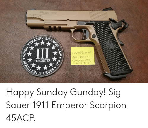 sig sauer: Y BE  Tht_ Donald  IS ORD Happy Sunday Gunday! Sig Sauer 1911 Emperor Scorpion 45ACP.
