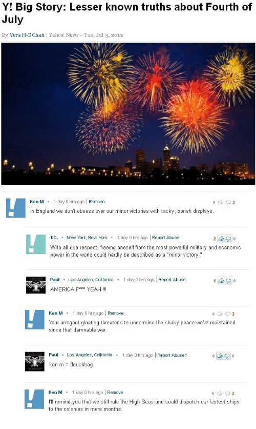 """America, England, and Ken: Y! Big Story: Lesser known truths about Fourth of  July  By Vera H-C Chan 