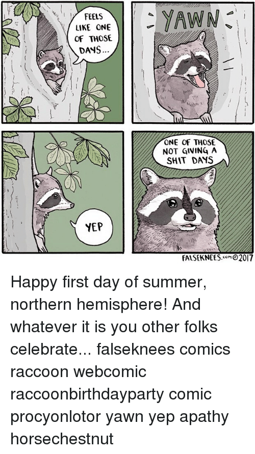 hemisphere: y FEELS  I  LIKE ONE  OF THOSE  DANS  YEP  YAWN  ONE OF THOSE  NOT GIVING A  SHIT DAYS  FALSEKNEES  2017 Happy first day of summer, northern hemisphere! And whatever it is you other folks celebrate... falseknees comics raccoon webcomic raccoonbirthdayparty comic procyonlotor yawn yep apathy horsechestnut