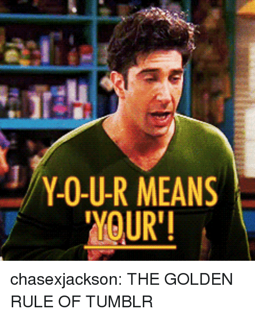 "The Golden Rule: Y-O-U-R MEANS  YOUR"" chasexjackson:  THE GOLDEN RULE OF TUMBLR"