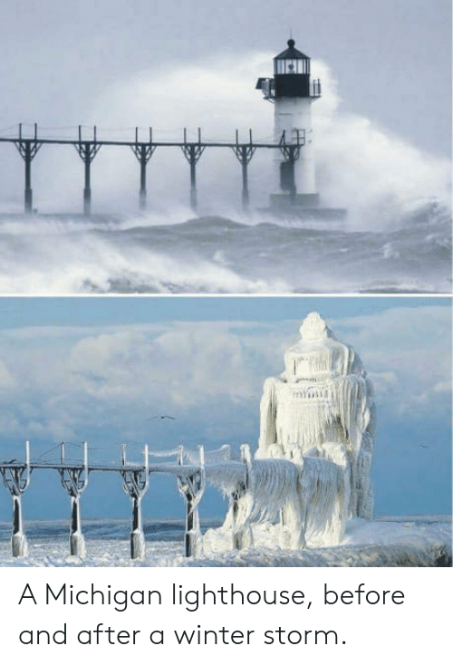 winter storm: YA A Michigan lighthouse, before and after a winter storm.