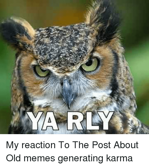 Ya Rly: YA RLY My reaction To The Post About Old memes generating karma