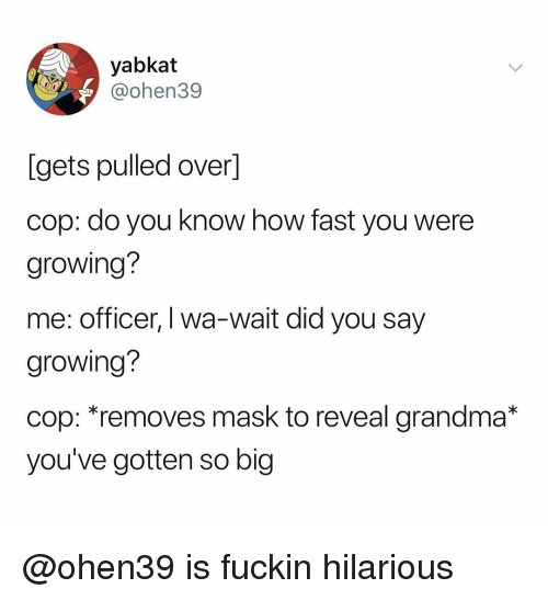 Grandma, Dank Memes, and Hilarious: yabkat  @ohen39  [gets pulled over]  cop: do you know how fast you were  growing?  me: officer, I wa-wait did you say  growing?  cop: removes mask to reveal grandma*  you've gotten so big @ohen39 is fuckin hilarious