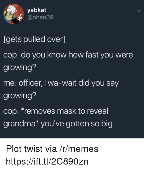 Grandma, Memes, and Mask: yabkat  @ohen39  [gets pulled over]  cop: do you know how fast you were  growing?  me: officer, I wa-wait did you say  growing?  cop: *removes mask to reveal  grandma* you've gotten so big Plot twist via /r/memes https://ift.tt/2C890zn
