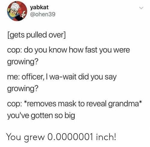 did-you-say: yabkat  @ohen39  [gets pulled over]  cop: do you know how fast you were  growing?  me: officer, I wa-wait did you say  growing?  cop: *removes mask to reveal grandma*  you've gotten so big You grew 0.0000001 inch!