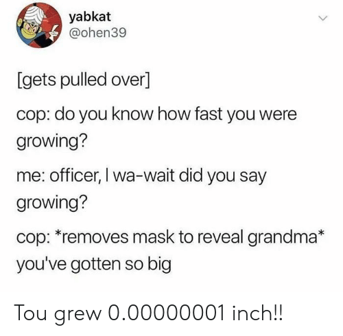 did-you-say: yabkat  @ohen39  [gets pulled over]  cop: do you know how fast you were  growing?  me: officer, I wa-wait did you say  growing?  cop: *removes mask to reveal grandma*  you've gotten so big Tou grew 0.00000001 inch!!