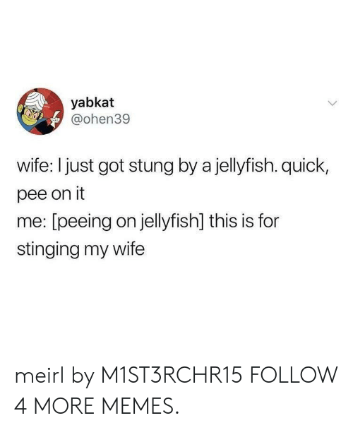 stinging: yabkat  @ohen39  wife: I just got stung by a jellyfish. quick,  pee on it  me: [peeing on jellyfish] this is for  stinging my wife meirl by M1ST3RCHR15 FOLLOW 4 MORE MEMES.