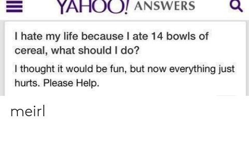 i hate my life: YAHOO! ANSWERSQ  I hate my life because I ate 14 bowls of  cereal, what should I do?  I thought it would be fun, but now everything just  hurts. Please Help. meirl