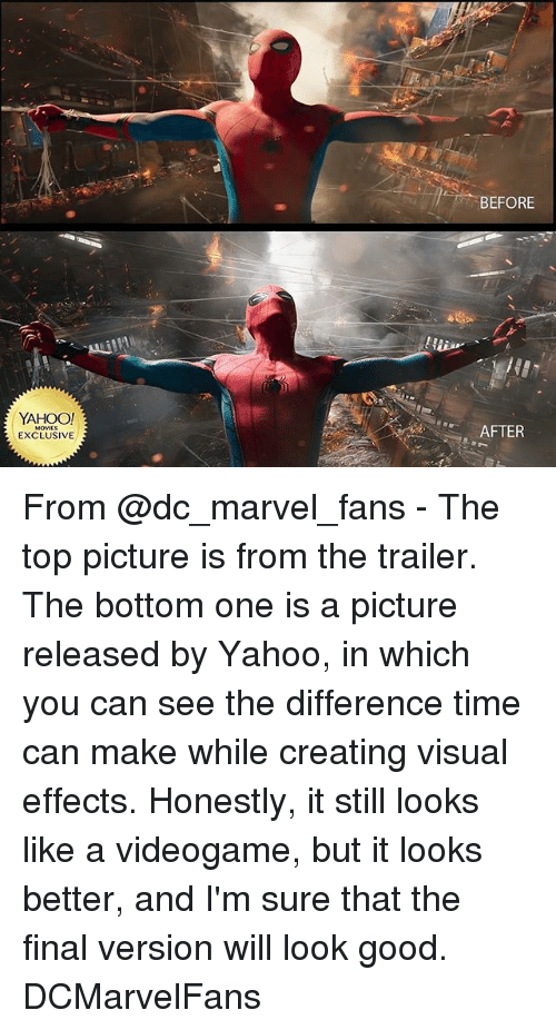 Memes, Good, and Marvel: YAHOO!  EXCLUSIVE  BEFORE  AFTER From @dc_marvel_fans - The top picture is from the trailer. The bottom one is a picture released by Yahoo, in which you can see the difference time can make while creating visual effects. Honestly, it still looks like a videogame, but it looks better, and I'm sure that the final version will look good. DCMarvelFans