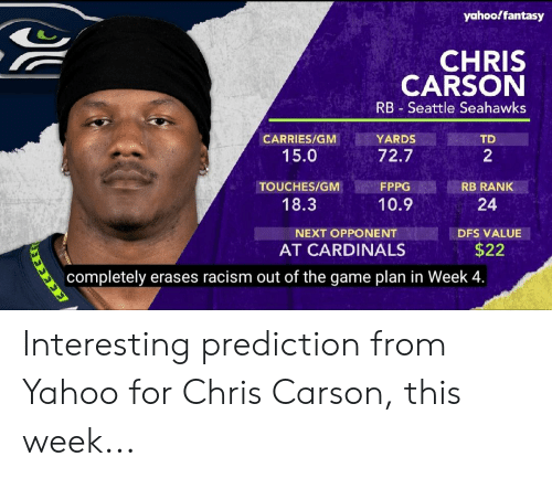Seattle Seahawks: yahooffantasy  CHRIS  CARSON  RB Seattle Seahawks  YARDS  CARRIES/GM  TD  15.0  72.7  2  TOUCHES/GM  FPPG  RB RANK  18.3  10.9  24  NEXT OPPONENT  DFS VALUE  $22  AT CARDINALS  |completely erases racism out of the game plan in Week 4.  EEEEERS Interesting prediction from Yahoo for Chris Carson, this week...