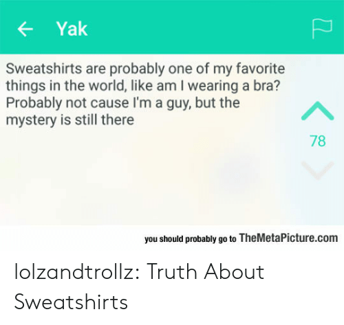 Favorite Things: Yak  Sweatshirts are probably one of my favorite  things in the world, like am I wearing a bra?  Probably not cause I'm a guy, but the  mystery is still there  A  78  you should probably go to TheMetaPicture.com lolzandtrollz:  Truth About Sweatshirts