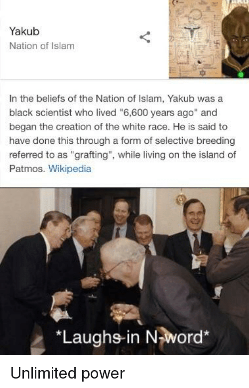 """Black Scientist: Yakub  Nation of Islam  In the beliefs of the Nation of Islam, Yakub was a  black scientist who lived """"6,600 years ago"""" and  began the creation of the white race. He is said to  have done this through a form of selective breeding  referred to as """"grafting"""", while living on the island of  Patmos. Wikipedia  *Laughs-in Nword*"""