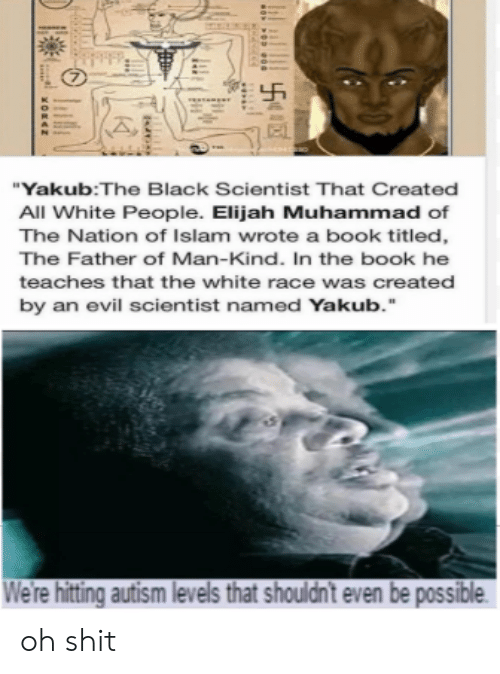 """Black Scientist: """"Yakub:The Black Scientist That Created  All White People. Elijah Muhammad of  The Nation of Islam wrote a book titled,  The Father of Man-Kind. In the book he  teaches that the white race was create  by an evil scientist named Yakub.  We're hitting autism levels that shouldnt even be possible oh shit"""