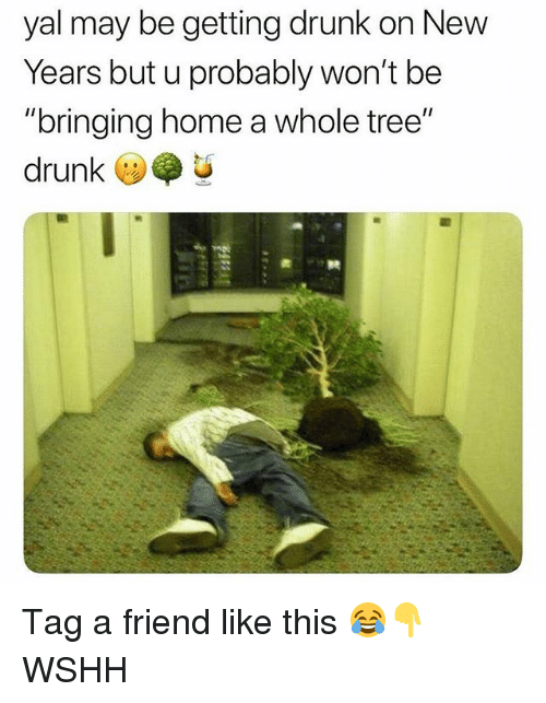 "Drunk, Memes, and Wshh: yal may be getting drunk on New  Years but u probably won't be  ""bringing home a whole tree""  drunk U Tag a friend like this 😂👇 WSHH"