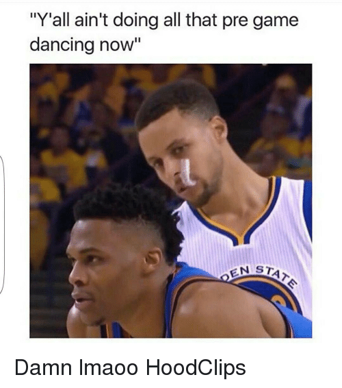 """Dancing, Funny, and Game: """"Y""""all ain't doing all that pre game  dancing now""""  EN STA Damn lmaoo HoodClips"""