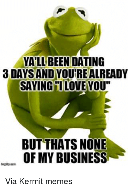 "Kermit Meme: YALL BEEN DATING  3DAYSANDYOUTREALREADY  SAYING I LOVE YOU""  BUT THATS NONE  OF MY BUSINESSu Via Kermit memes"